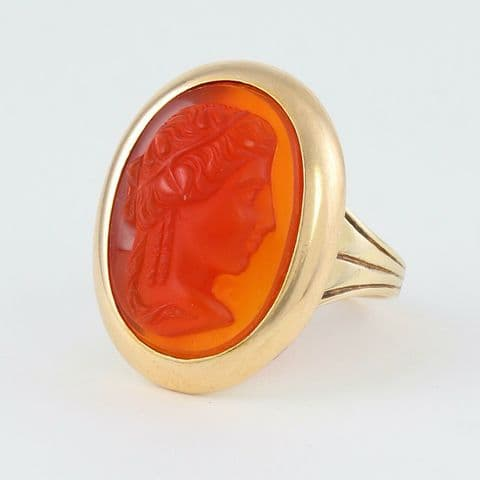 Antique Victorian 9Ct Gold Ring With Carnelian Cameo Of Female Head